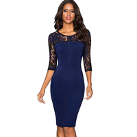 Autumn Women Elegant Embroidery Floral Sexy See Through Lace Party Work Business Sheath Vestidos Bodycon Dress