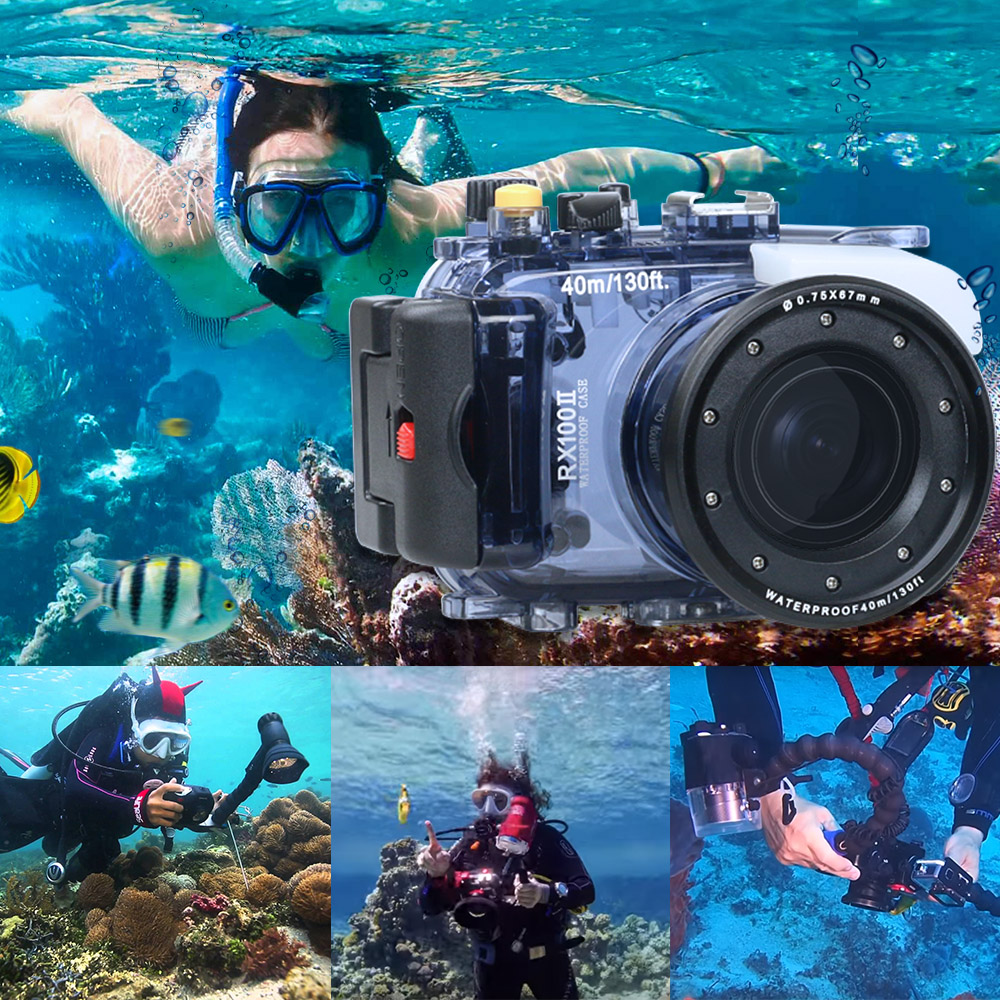 Image 2 - For Sony RX100 II 2 Mark II Camera Housing Case Underwater 40m Photogeraphy Waterproof Camera Bag Suitable for Swiming Surfing-in Sports Camcorder Cases from Consumer Electronics