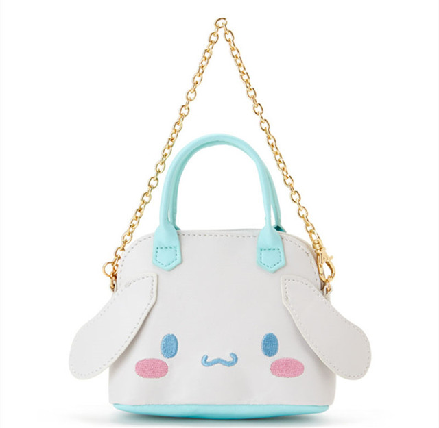 Cute Cartoon My Melody Cinnamoroll Kuromi PU Leather Coin Purse Wallets Women Girls Mini Tote Bag Handbag Small Chain Bag