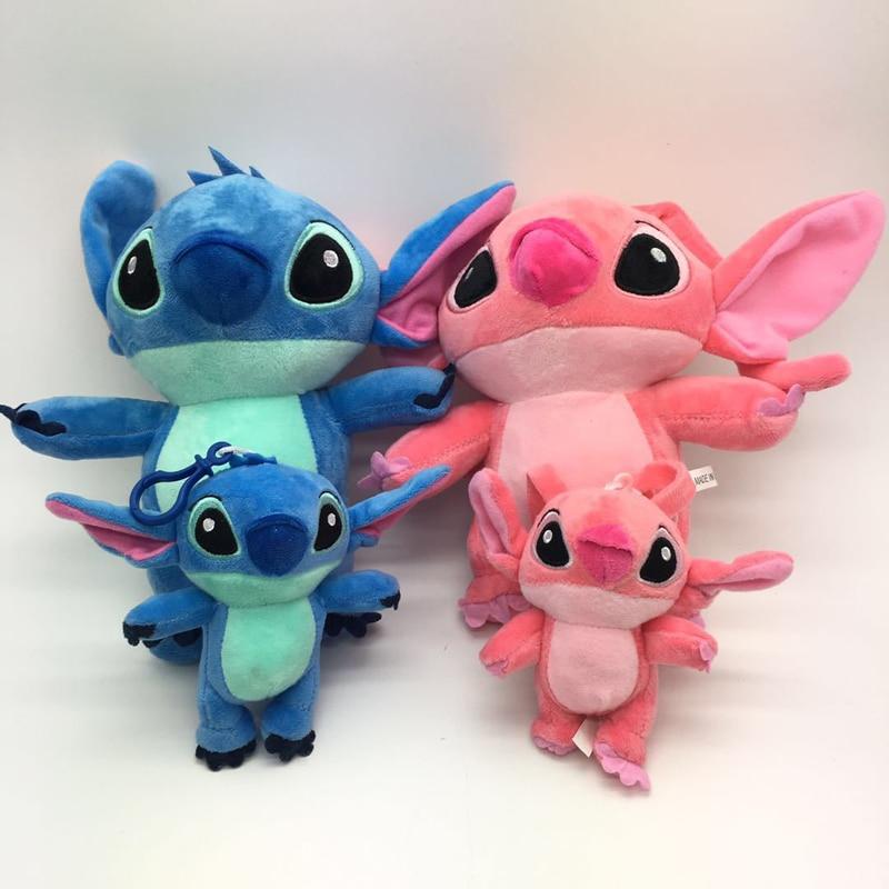 1pcs 15-23cm Stitch Plush Toys Doll Blue Stitch And Pink Turo Plush Pendant Keychain Soft Stuffed Toys For Kids