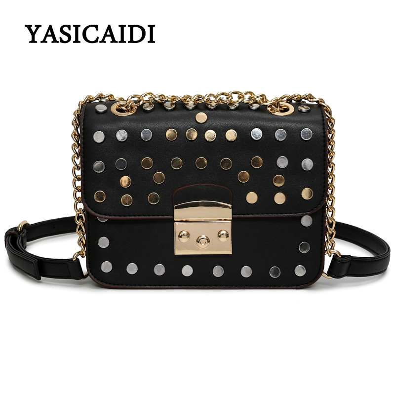 Design Small Messenger Bags for Girls Fashion Pu Leather Black Women Rivet Crossbody Bags for Women with Chain Women Bag цена и фото