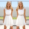 Plus Size White Lace Crochet Dress Women's Vintage Sleeveless Floral Woman Mini Party Dress 12