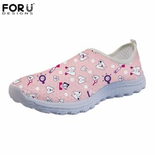 FORUDESIGNS Cute Dentist Pattern Women's Sneakers Fashion Slip-on Female Brand Casual Flats Shoes Women Summer Dentista Zapatos