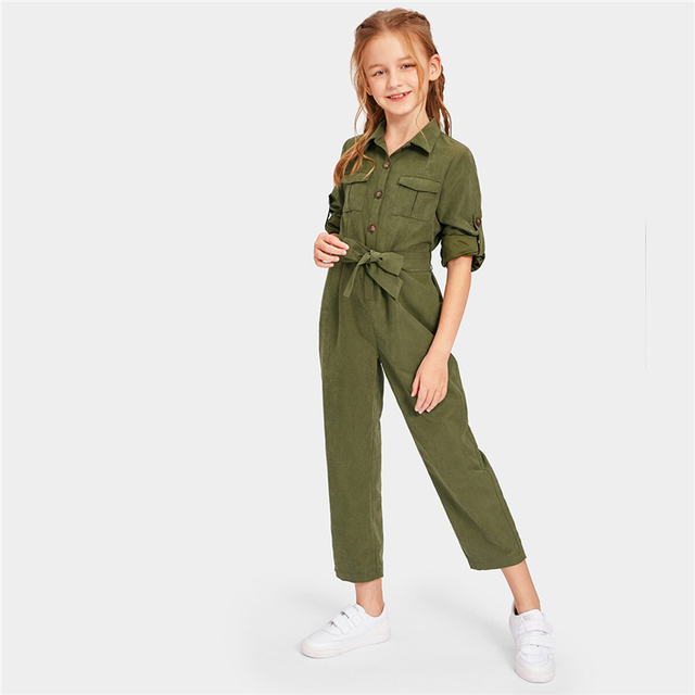 Army Green Button And Pocket Front Belted Jumpsuit Kids – 21JS