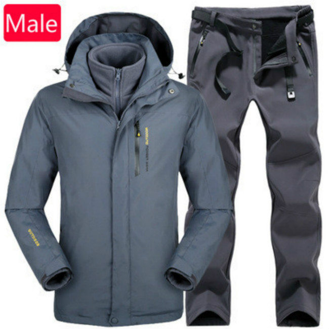 Stormtrooper suit men and women outdoor thermal wind - proof waterproof and thick grab flannelette two sets of mountaineering autumn winter outdoor stormtrooper suit two sets of men and women s thick warm and windproof couple mountaineering suit