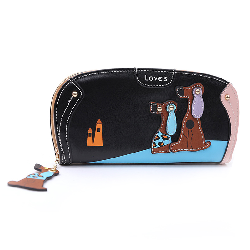 FGGS Hot New Arrive Fashion Cute Puppy Zipper Long Wallet Cartoon Dog 6 Colors PU Leather Women Wallets Ladies Clutch Card Hol