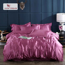 SlowDream Luxury Bedding Set Fitted Sheet Euro Adult 100% Silk Bedspread Rubber Duvet Cover Elastic Band Corners