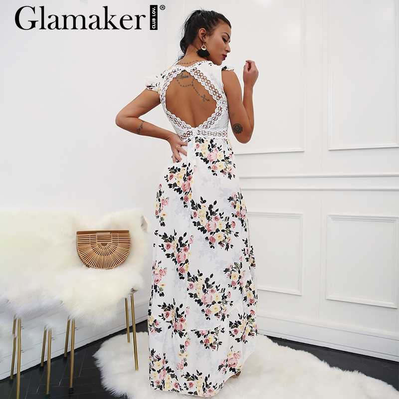 Glamaker Backless Dress ... Glamaker Sexy deep V neck backless summer dress Women floral print  bohemian maxi dress Hollow out ...