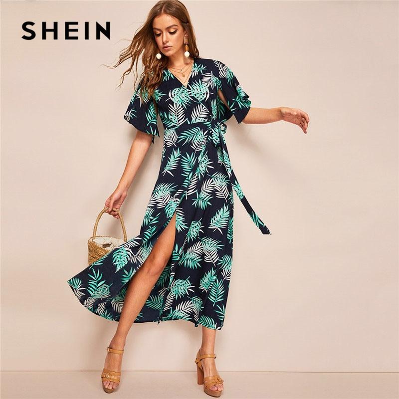 Шеин Boho многоцветный джунгли лист разделение рукавом обёрточная бумага завязанный V средства ухода за кожей шеи Макси платье для женщи