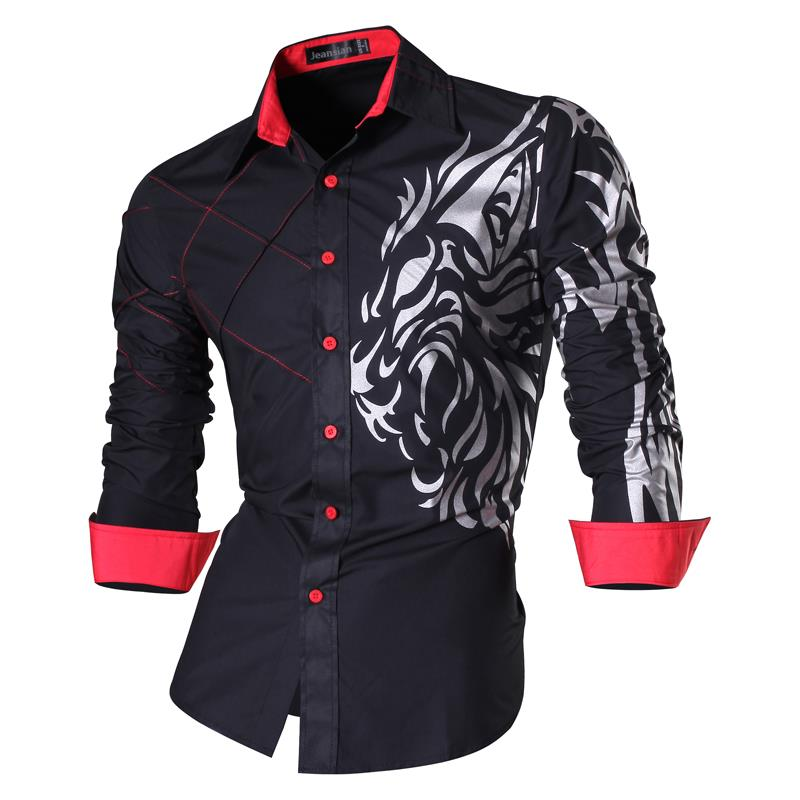 Jeansian Men's Fashion Dress Casual Shirts Button Down Long Sleeve Slim Fit Designer Tattoo Lion Z030 Black2
