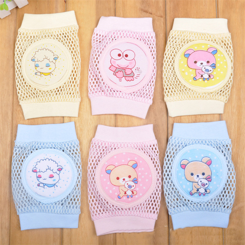 Cartoon Baby Knee Pads Anti Slip Mesh Cushion Crawling Protector Cotton Kids Kneecaps Children For Grils Boys Leg Warmers 0-3Y new 0 3y toddler kids kneepad protector soft thicken terry oversleeve safety crawling baby leg warmers well knee pads for child
