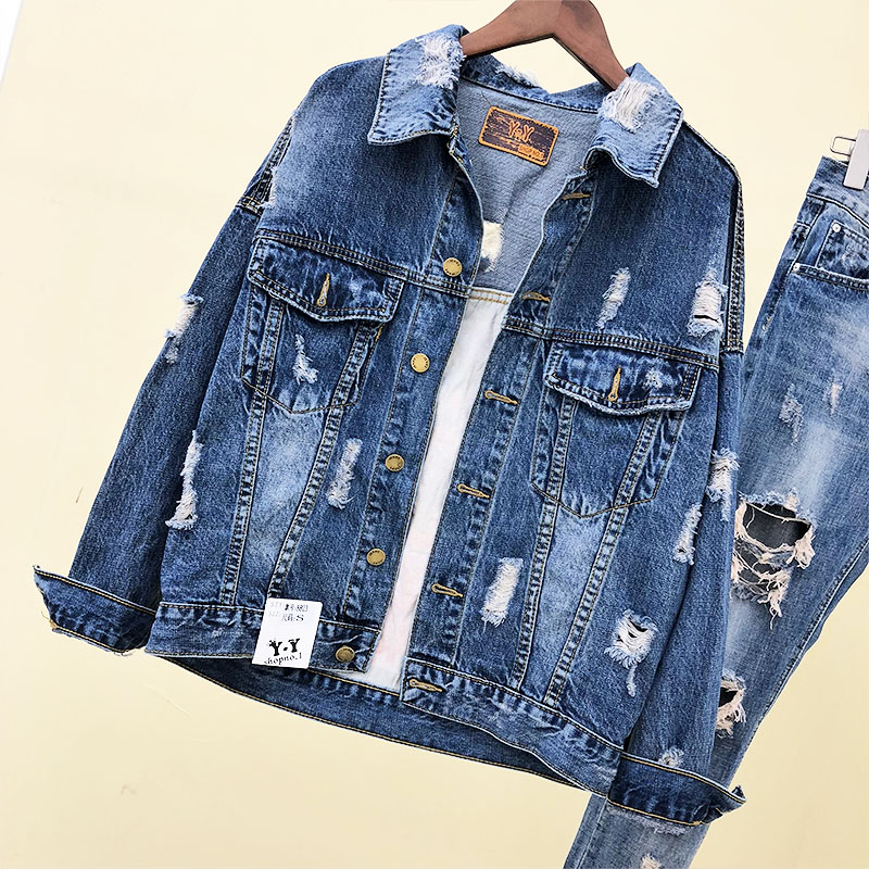 Impression Denim Manteau Mode Euro Bleu Lâche Casual Outwear Veste Sexy New Trou Femmes Patch De Manteaux Jeans Hot 2018 Déchiré qAqpxza