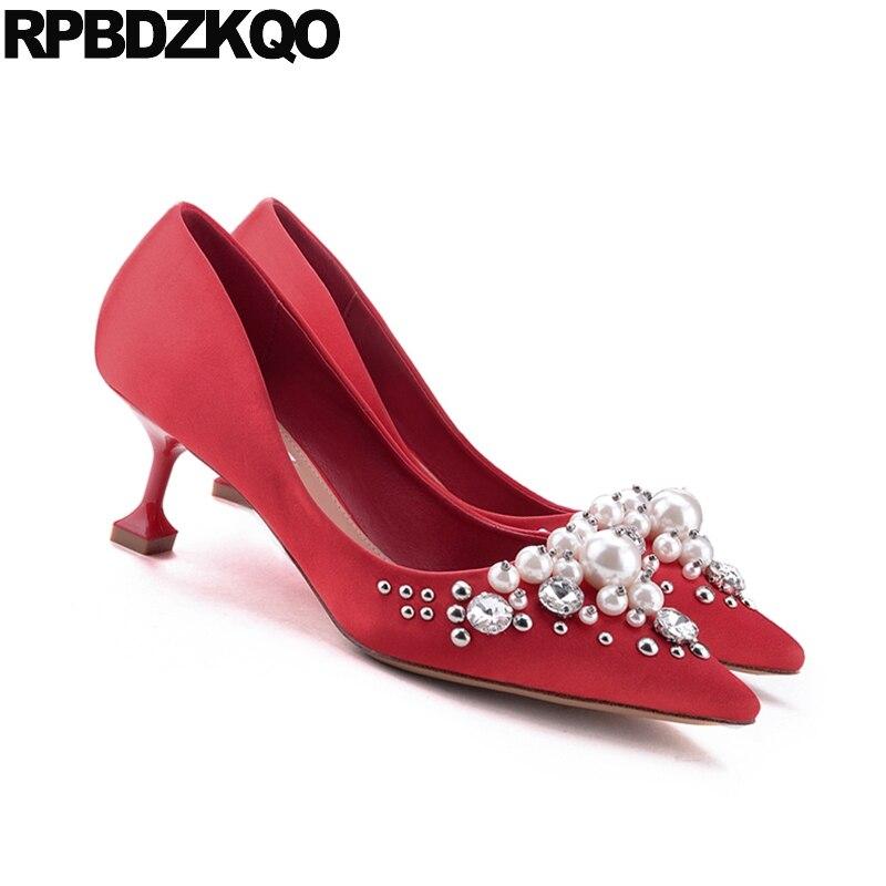 abd5114cb8 US $52.22 36% OFF|Wedding Pumps Pointed Toe Silk Bridal Plus Size Pearl  High Heels Shoes Ivory Satin Crystal Metal Women Red Stud Kitten Medium  33-in ...