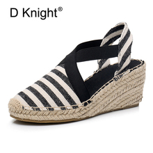 Women Espadrilles Wedge Sandals Ankle Strap Summer Canvas Platform Wedges Fashion Stripes Slip On Women Platform High Heel Shoes