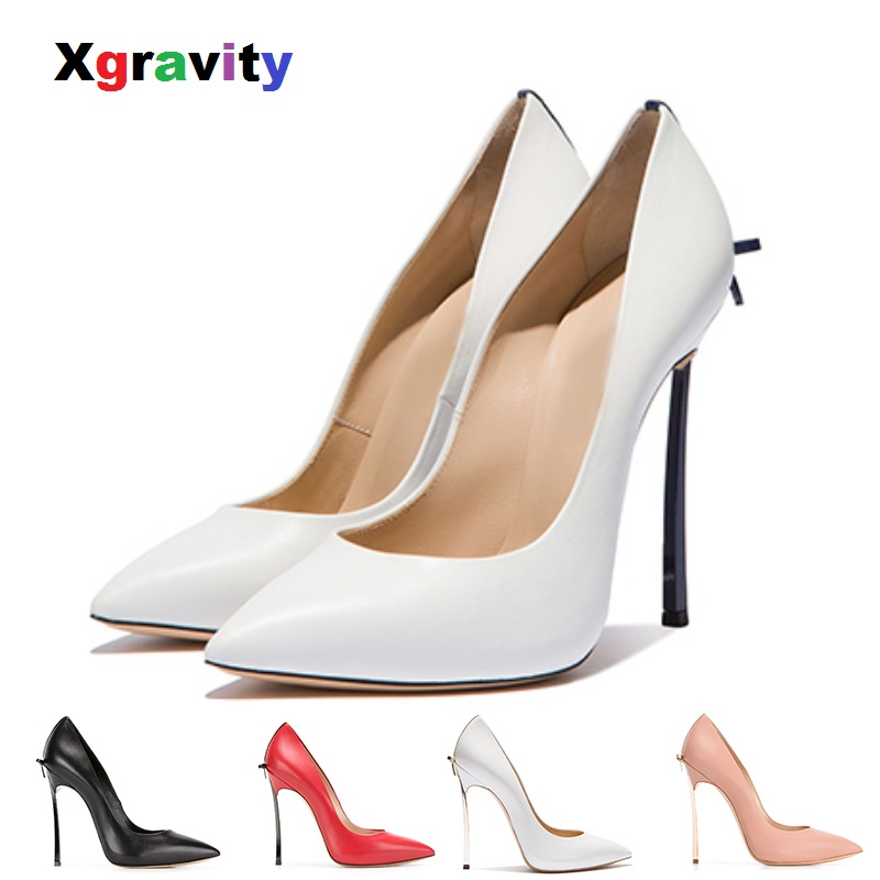 XGRAVITRY Back Bow knot Fashion Pointed Toe Dress Shoes Sexy Super High Heel Pumps Elegant Pretty