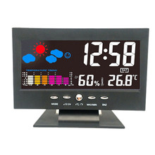 Multi-Function Big Dimmer Disply LED Digital Alarm Clock Night Light Digits Calendar Table Desk Clock Stand Home Decor - Black(China)