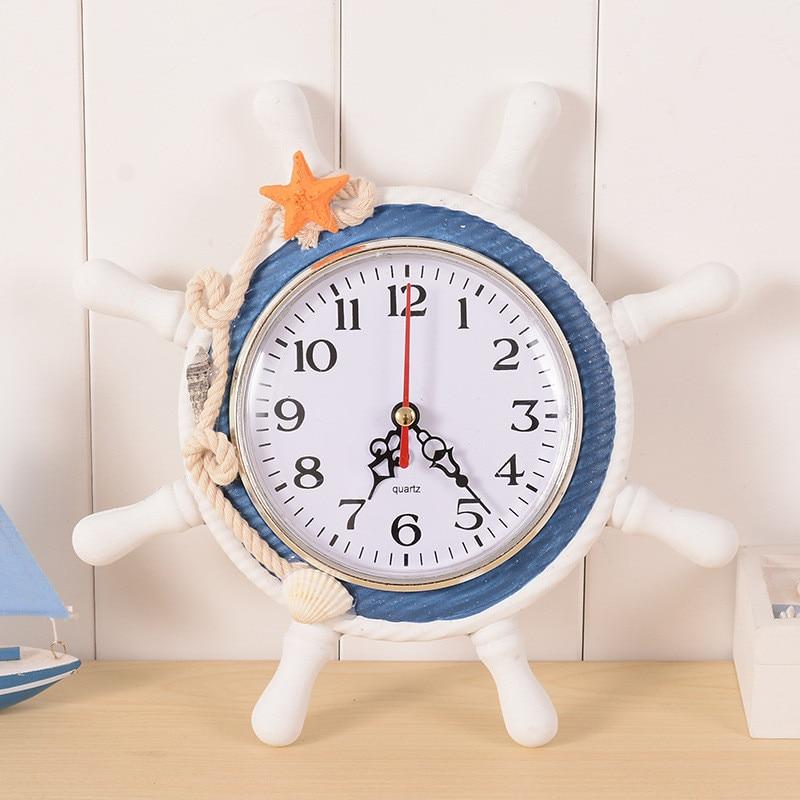 Mediterranean-Style Wood Round Wall Clock Retro 215*25mm Large Wall Clock Anchor Saat Needle Home Decoration Hanging reloj Clock