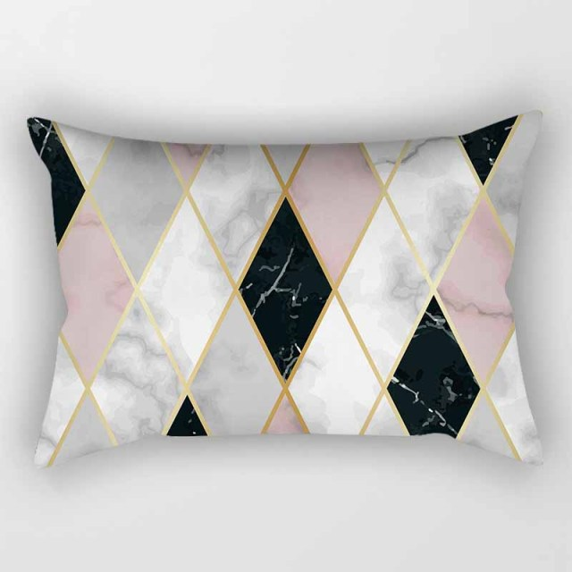 Pink Geometric Pattern Pillow Cover