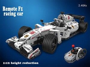 Image 2 - Moc f1 racing rc carro de controle remoto 2.4ghz técnica com caixa motor 729 pçs blocos de construção tijolo criador brinquedos para crianças presentes