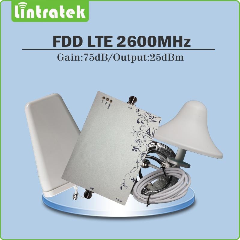 Gain 75dB AGC/MGC 4G LTE 2600 mhz signal booster 4G LTE 2600 Mhz (FDD Bande 7) téléphone cellulaire répéteur ensemble complet avec Antenne et Câble