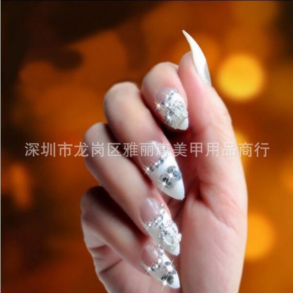 100Pcs/se Nail Art Clear/Natural half Cover Oval sharp end stiletto ...