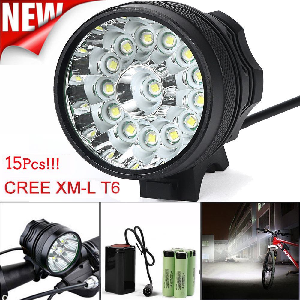 Bicycle Accessories Headlight Flashlight 38000LM 15 x CREE XM-L T6 LED 6 x 18650 Bicycle Cycling Light Waterproof Lamp US plug zinuo 3 x cree xm l t6 led bicycle bike headlight head light lamp torch flashlight