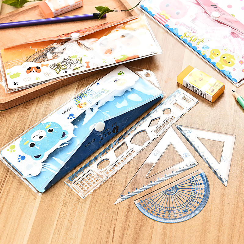 Cartoon Student Ruler Creative Stationery Simple Classic Transparent Ruler Set Student Plastic Learning Stationery