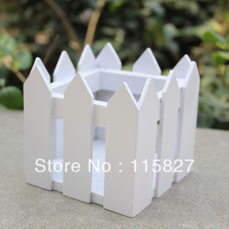 2pcs/lot Square White Color Wooden Fence Artificial Flower Pot Wooden Vase Flower Holder Home or garden Decoration 10*10cm