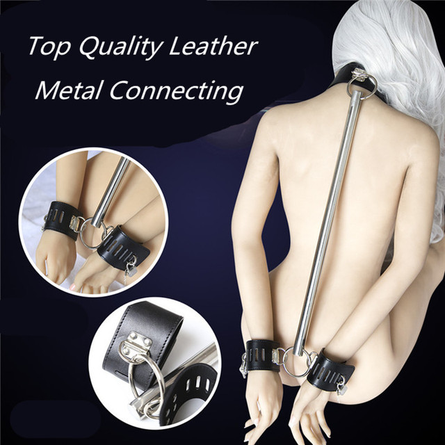 2016 New Metal Leather With Lock Collar Handcuffs Fetish Slave Bdsm Bondage Erotic Sex Products Adult Sex Toys For Couples Shop