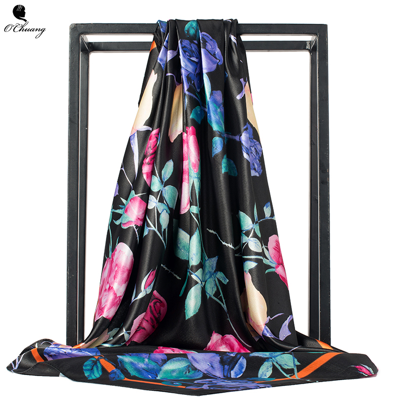 Women   Scarf   Satin Silk Foulard Cheveux Black Flowers Printed Luxury Hijab Shawl Scarfs Square Head   Scarves     Wraps   90x90cm