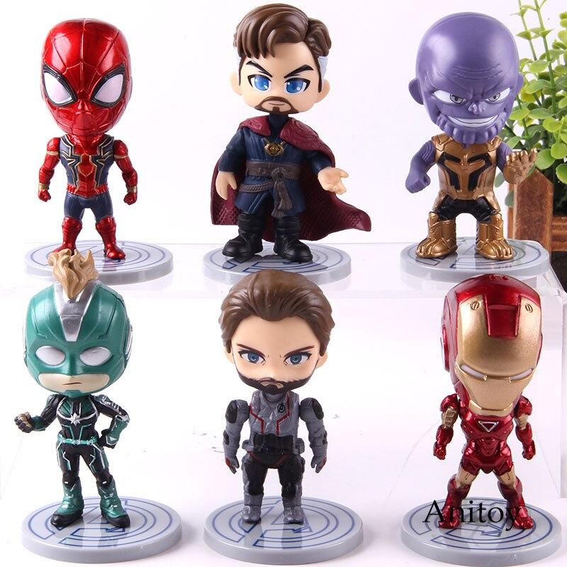 avengers-endgame-q-version-iron-man-captain-america-spiderman-thanos-doctor-strange-captain-font-b-marvel-b-font-action-figure-toys-6pcs-set