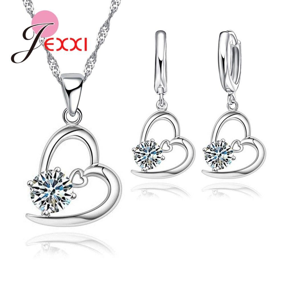 YAAMELI 925 Sterling Silver Sharking Cubic Zirconia Heart Shape Pendant Necklace Earring Sets For Women Bridal Wedding Jewelry