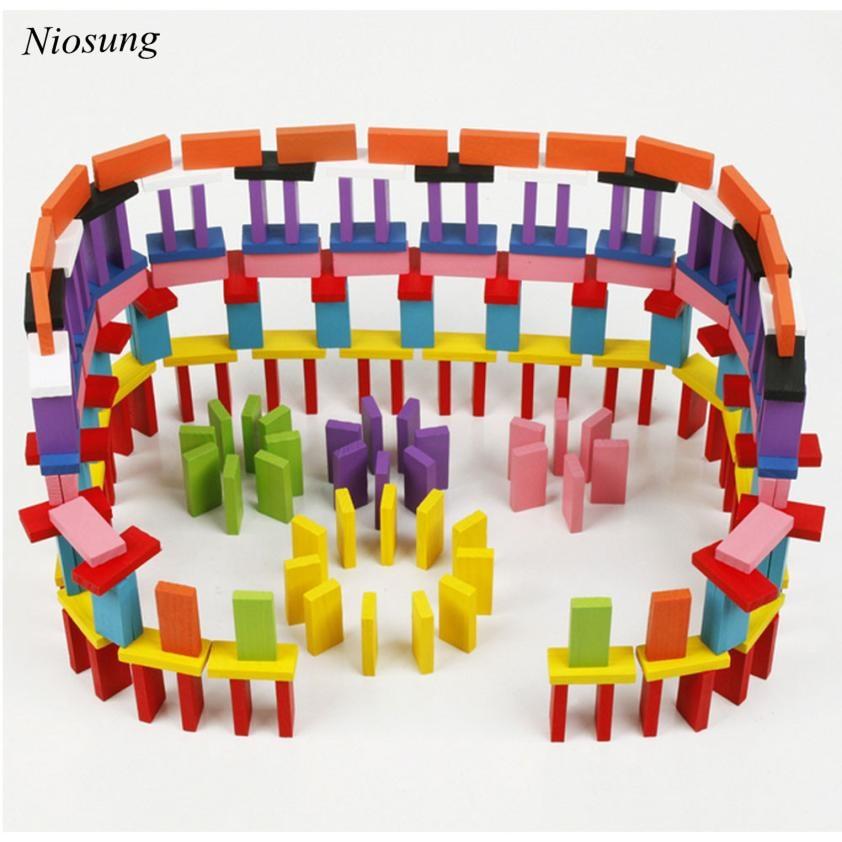 ФОТО niosung 120 rainbow domino the wooden building blocks baby toys for infants toys modern baby kids christmas birthday gift