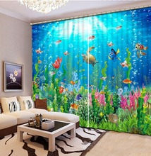 Fashion Catoon Modern customize buyer size underwater world 3D Window Curtains For Bedding room