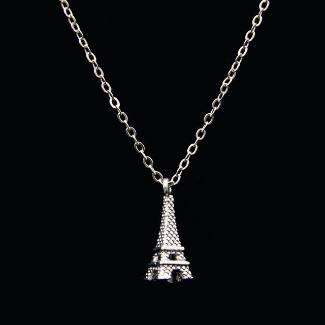 b54b65b867c2 Collares Chokers Torre Eiffel Poputton para mujer Collar gargantilla de  cadena de plata collares y colgantes
