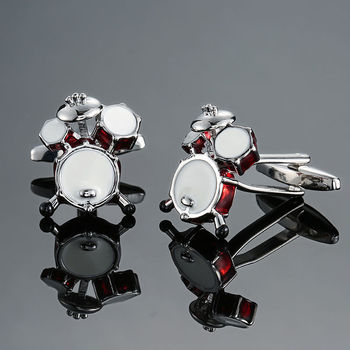 DY new high quality brass musical instruments Sax trumpet drum piano violin music symbol French shirt Cufflinks 5