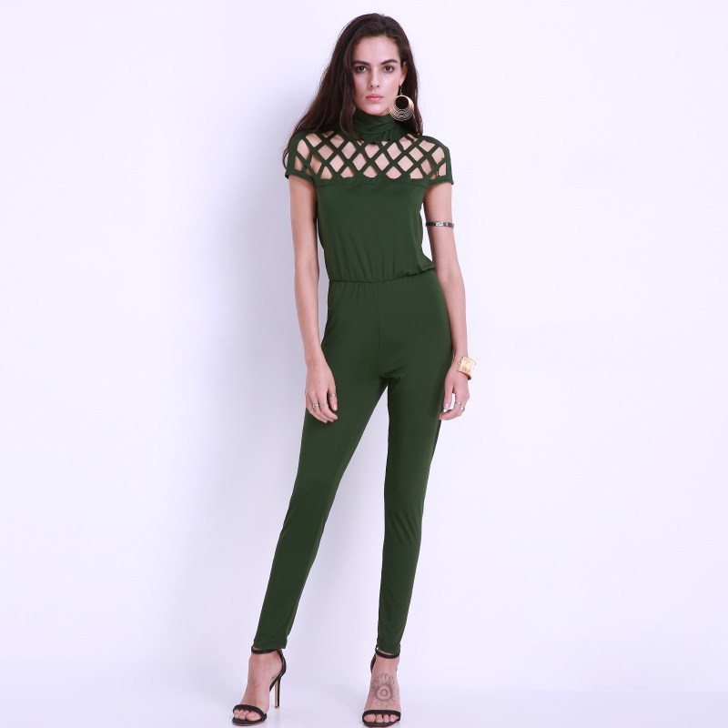 Jumpsuit Women Hollow Out Fashion Plus Size Short Sleeve Overall Casual Slim Fit Bandage Long Rompers Trousers Bodysuit 2017 New