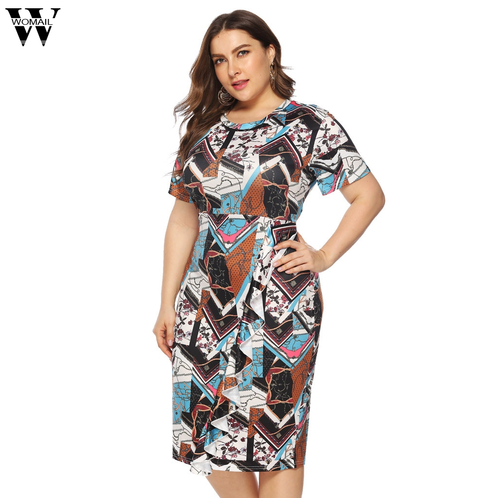 Womail Dress Summer Women Plus Size Casual O-Neck Short Sleeve Knee Length Dress Party Dresss Holiday Beach 2019 Dropship M11