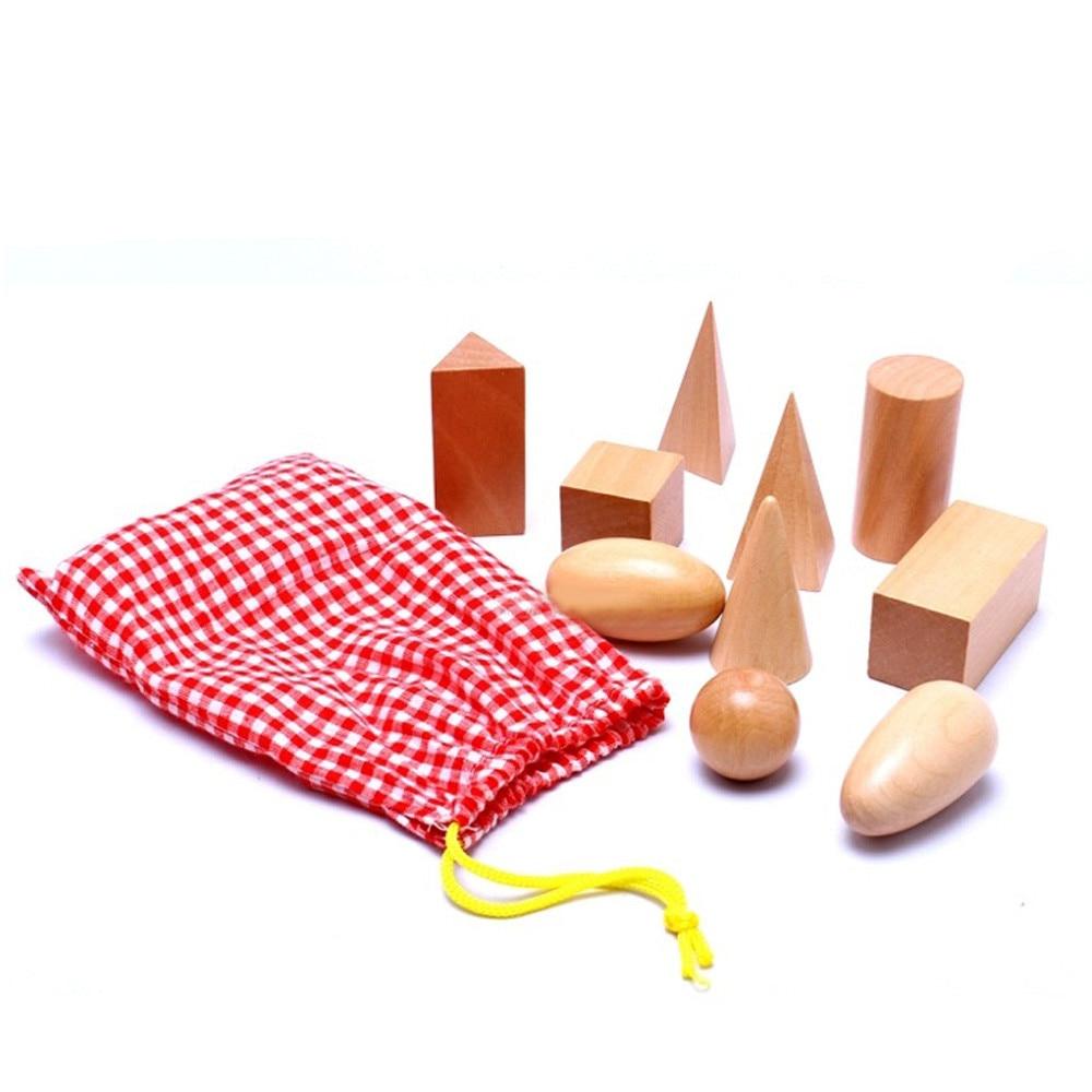 10 pcwooden Монтессори Тайна сумка Геометрия Конструкторы комплект образования Познавательная Игрушечные лошадки Образование игрушка Игрушки ...