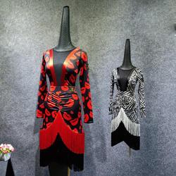 Женские латинские платья костюм для танцевального конкурса трико юбки 2 шт. с кисточками с длинным рукавом сексуальные танцевальный зал