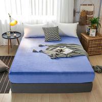 Funda de colchón de cama de lana cálida de franela de hoja plana sábanas de cama de Sabanas doble tamaño de rey de la Reina 150*200/180*200cm