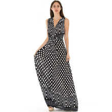 Robe femme ete 2017 femmes summer beach dress polka dot dress v cou sans manches grande taille 7xl long maxi dress vestidos verano