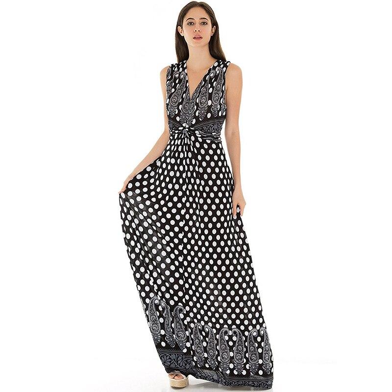 Robe femme ete 2018 Women Summer Beach Dress Polka Dot Dress V Neck Sleeveless Big Size 7XL Long Maxi Dress Vestidos verano