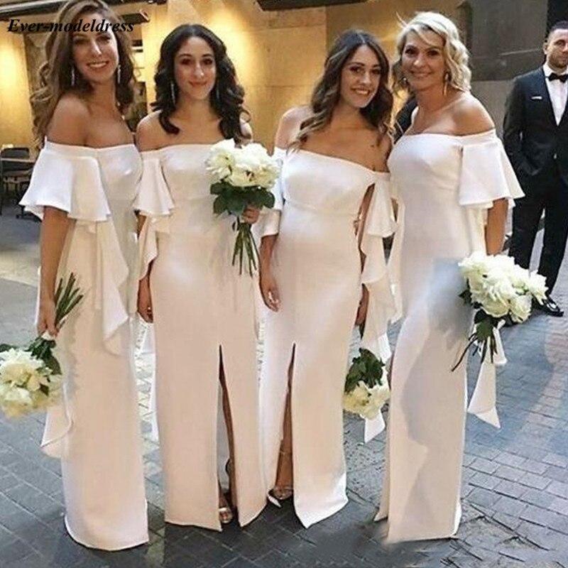 Bohemian White Chiffon Sheath Wedding Guest   Dress   Short Sleeves Chiffon   Bridesmaid     Dresses   For Wedding With Slit