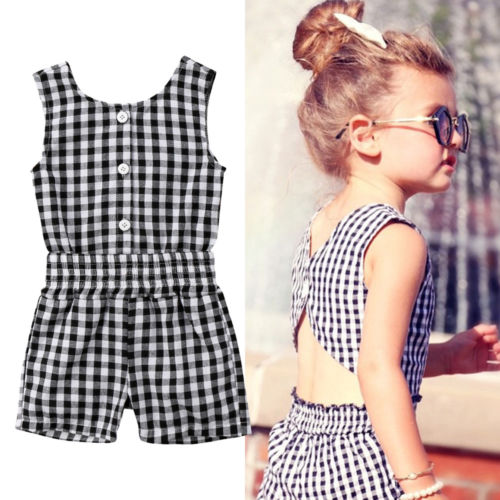 Newborn Baby Girl Plaid Sleeveless O Neck   Romper   Short Pants Jumpsuit Outfits 2018 New Children Casual Summer Clothes