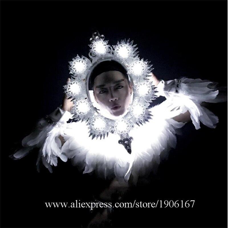 Discothèque hommes DS plume blanche vetement LED miroir magique Costumes saint valentin cadeau blanc Performance DJ chanteur danseuse tenue