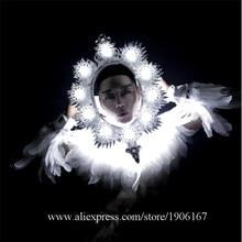 Ночной клуб Для мужчин DS белый Перо Костюмы светодиодный волшебное зеркало костюмы подарок ко Дню Святого Валентина Белый Производительность DJ певица танцор наряд