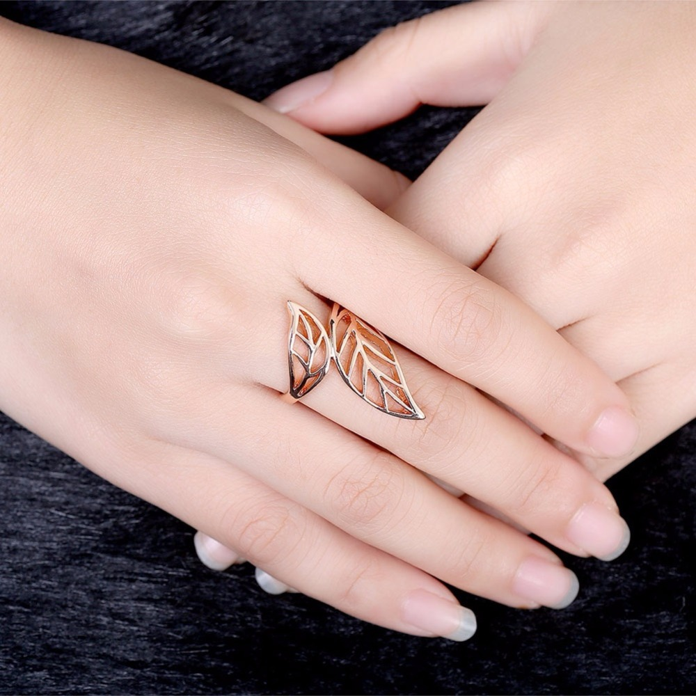 GNIMEGIL New Simple Style Rose Gold Color Hollow out Leaf Rings for ...