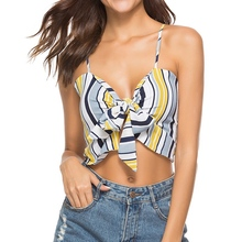 6bcad927824 LAAMEI Summer Women Smocked Wrap Chest 2018 Boho Print Bow Knot Tied Cami  Cropped Top Tube