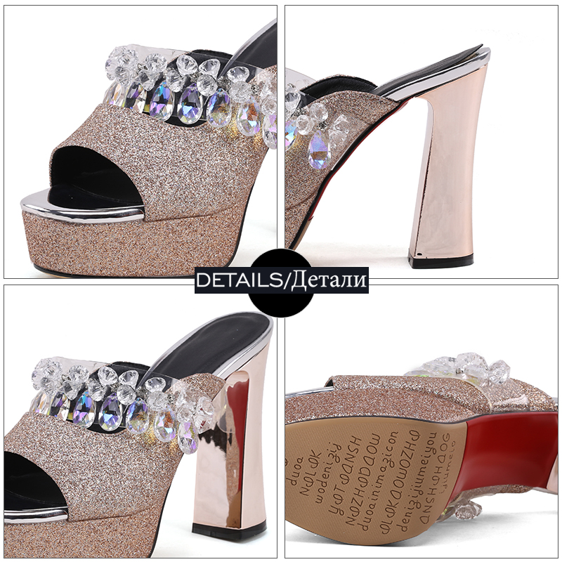 Estate Diapositives Peep Kiss Donna Pantofole Paillettes Bianco alti Crystal Wet Zeppe Oro Toe Shoes Trend Tacchi Donna Ciabatte wqfRgZw